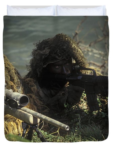 A Seal Sniper Swim Pair Set Up An Duvet Cover by Michael Wood
