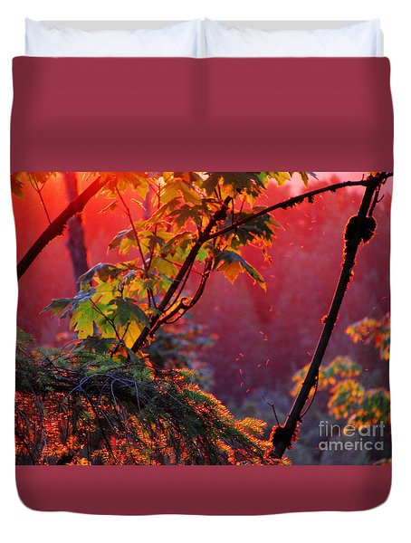 A Season's  Sunset Dusting Duvet Cover by Natalie Ortiz