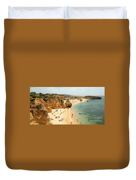 Duvet Cover featuring the painting A Secluded Beach by Rod Jellison