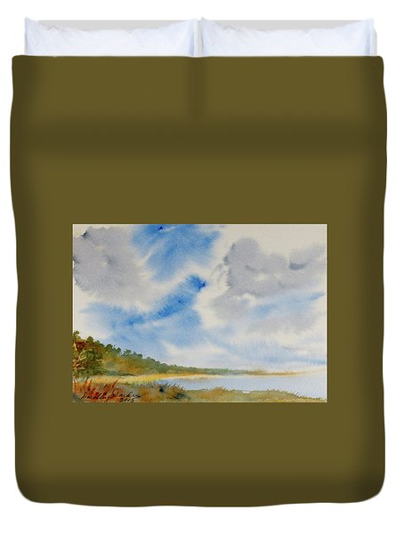 A Secluded Inlet Beneath Billowing Clouds Duvet Cover