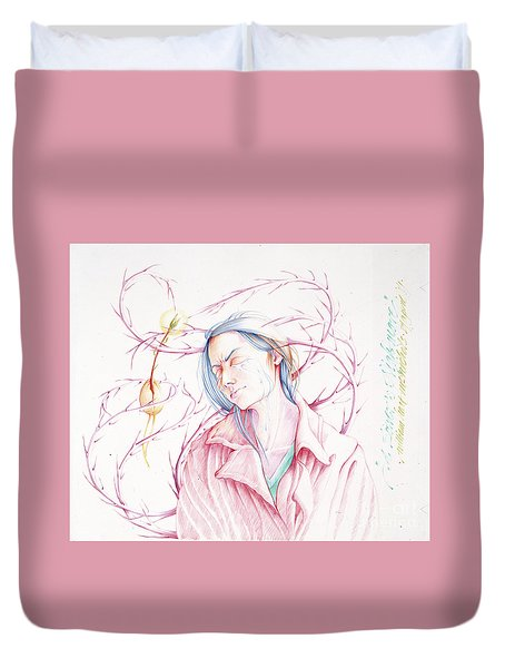 Duvet Cover featuring the drawing A Sower's Nightmare by William Hart McNichols