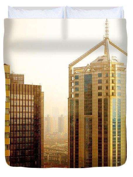 A Shanghai Sunset Duvet Cover by Christine Till