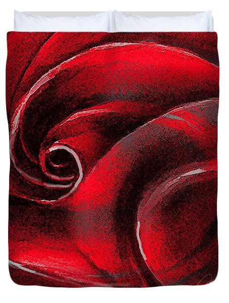 Duvet Cover featuring the painting A Shape In Rose by Allison Ashton