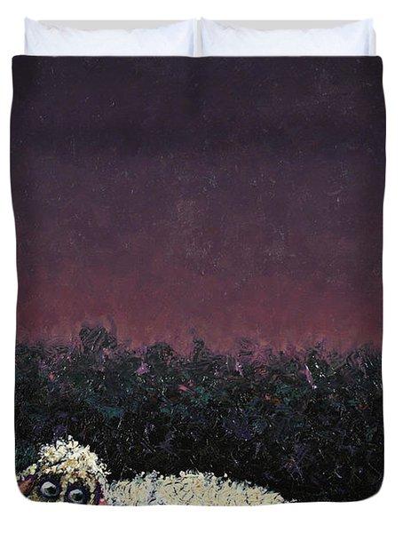 A Sheep In The Dark Duvet Cover