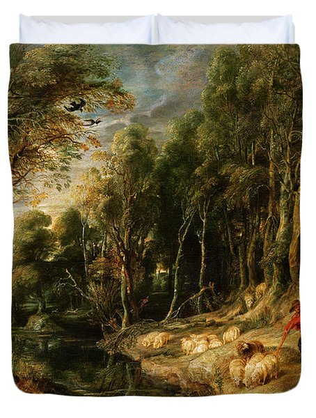A Shepherd With His Flock In A Woody Landscape Duvet Cover by Rubens