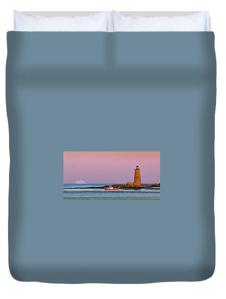 A Ship Passes The Super Moon And Whaleback Duvet Cover