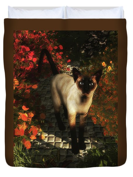 A Siamese Cat Is Looking  Duvet Cover
