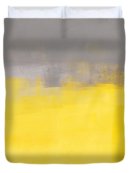 A Simple Abstract - Grey And Yellow Abstract Art Painting Duvet Cover