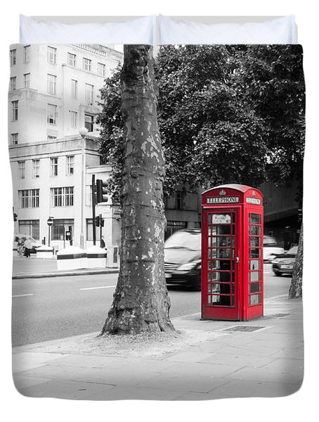 A Single Red Telephone Box On The Street Bw Duvet Cover