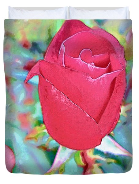 Duvet Cover featuring the photograph A Single Rose In October by Joan  Minchak