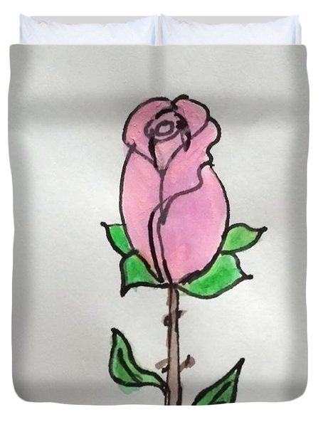 Duvet Cover featuring the painting A Single Rose by Margaret Welsh Willowsilk
