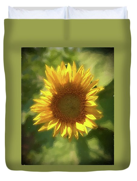 A Single Sunflower Showing It's Beautiful Yellow Color Duvet Cover