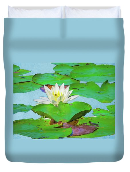 A Single Water Lily Blossom Duvet Cover