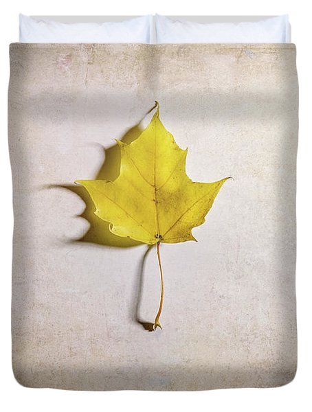 A Single Yellow Maple Leaf Duvet Cover