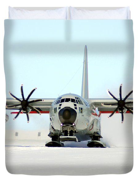 A Ski-equipped Lc-130 Hercules Duvet Cover by Stocktrek Images