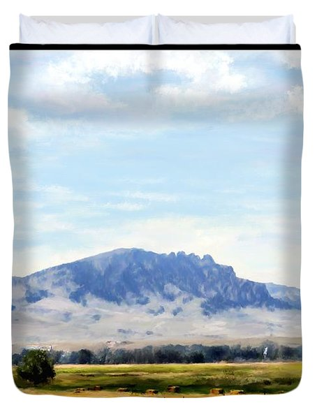 Duvet Cover featuring the painting A Sleeping Giant by Susan Kinney