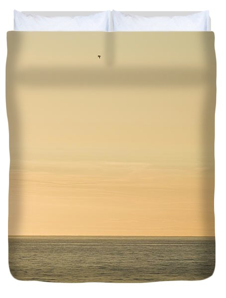A Small Fishing Boat In Sunset Over Cardigan Bay Aberystwyth Ceredigion West Wales Duvet Cover
