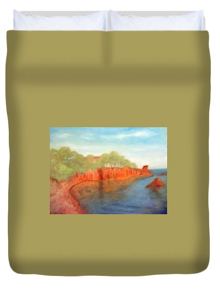 A Small Inlet Bay With Red Orange Rocks Duvet Cover