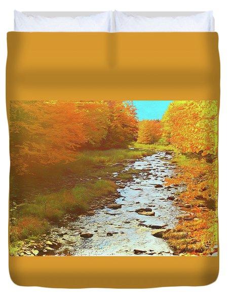 A Small Stream Bright Fall Color. Duvet Cover