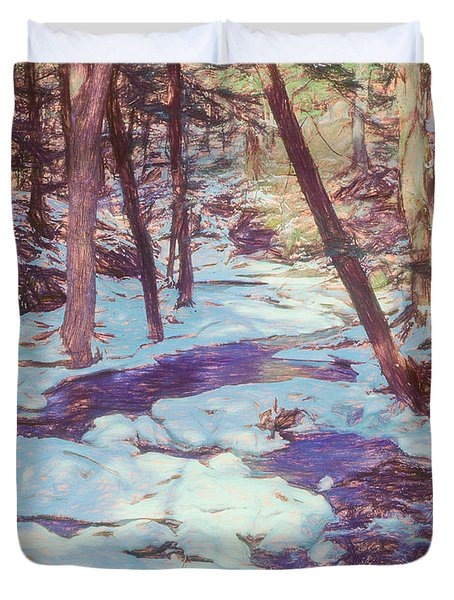 A Small Stream Meandering Through Winter Landscape. Duvet Cover