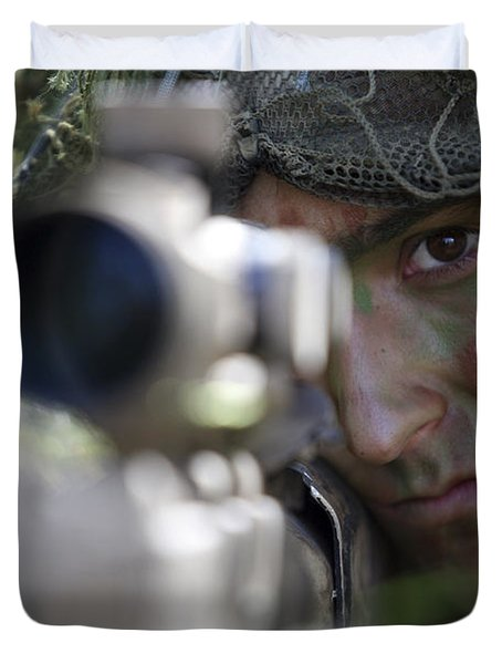 A Sniper Sights In On A Target Duvet Cover by Stocktrek Images