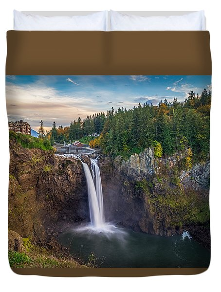 A Snoqualmie Falls  Autumn Duvet Cover by Ken Stanback