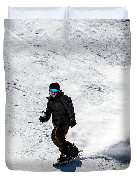 A Snowboarder Descends Aspen Mountain Duvet Cover