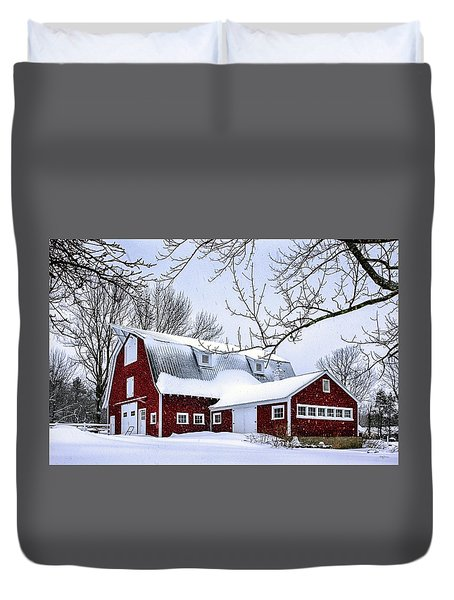 A Snowy Day At Grey Ledge Farm Duvet Cover