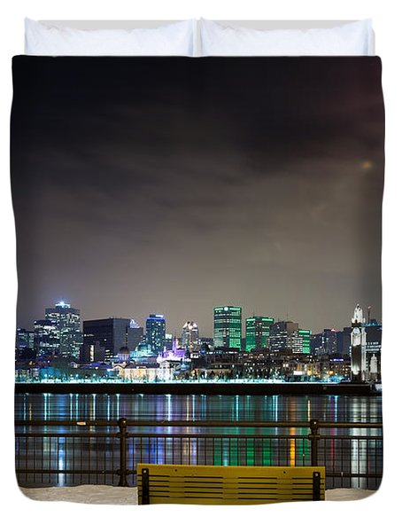 A Snowy Night In Montreal  Duvet Cover