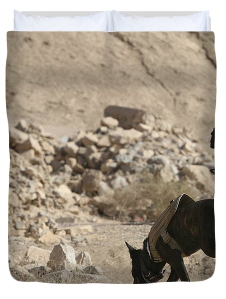 A Soldier And His Dog Search An Area Duvet Cover by Stocktrek Images