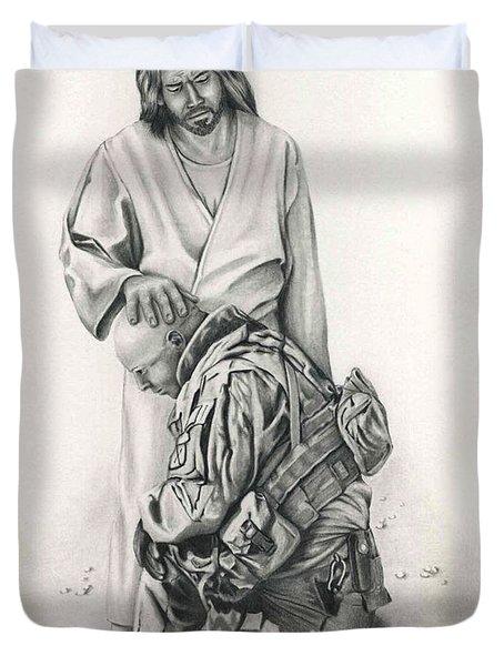 A Soldier's Prayer Duvet Cover by Linda Bissett