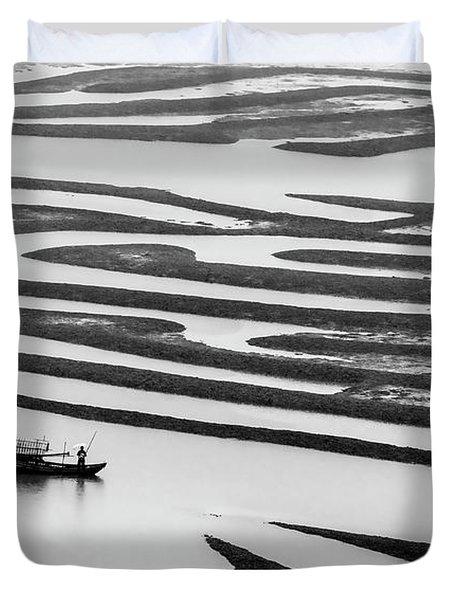 A Solitary Boatman. Duvet Cover