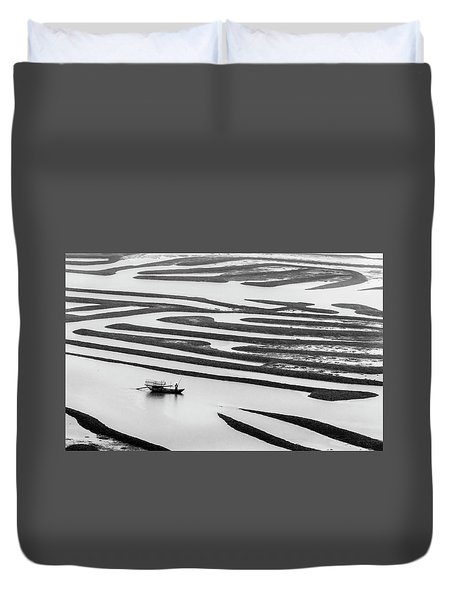 A Solitary Boatman. Duvet Cover