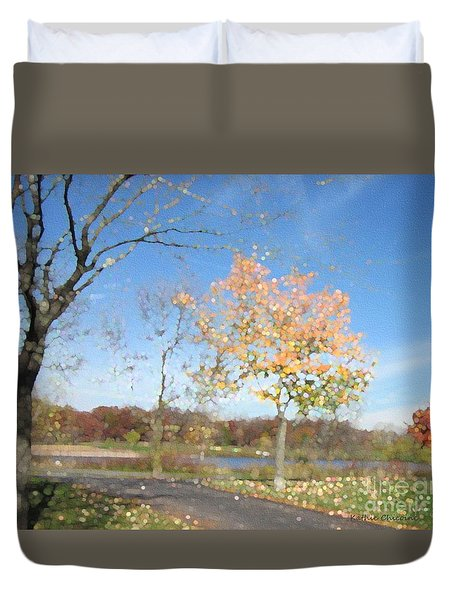 A Sparkly Fall Day Duvet Cover by Kathie Chicoine