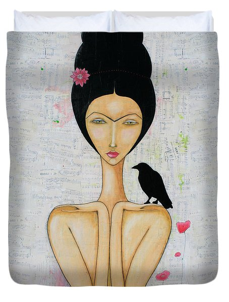 Duvet Cover featuring the mixed media A Special Friend by Natalie Briney