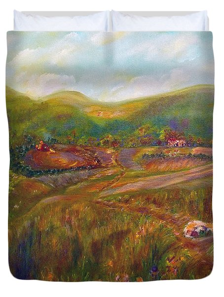 Duvet Cover featuring the painting A Special Place by Claire Bull