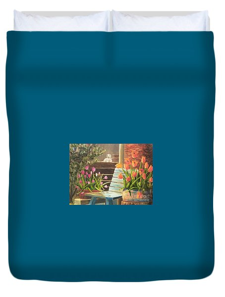 Duvet Cover featuring the painting A Special Place by Renate Nadi Wesley