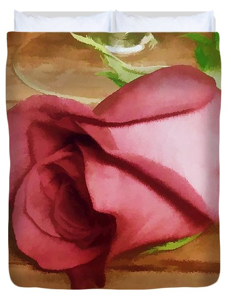 Duvet Cover featuring the photograph A Special Rose by Renee Trenholm