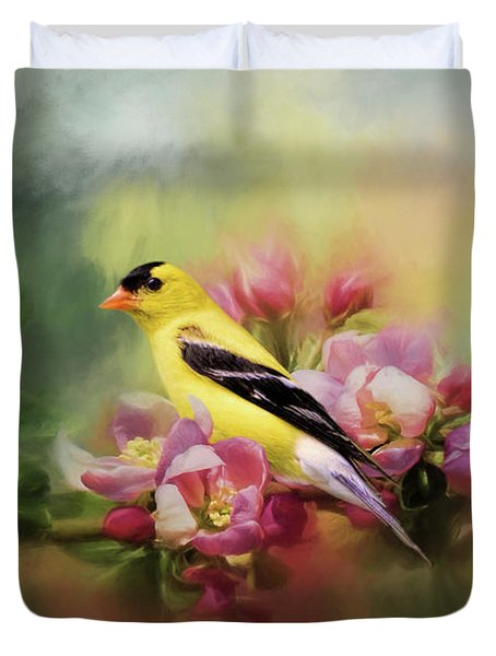 A Splash Of Joy Bird Art Duvet Cover by Jai Johnson