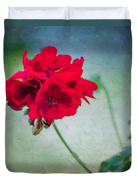 Duvet Cover featuring the photograph A Splash Of Red by Betty LaRue