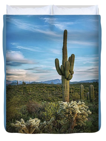 Duvet Cover featuring the photograph A Spring Evening In The Sonoran  by Saija Lehtonen