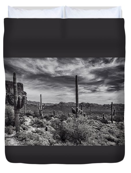 Duvet Cover featuring the photograph A Morning Hike In The Superstition In Black And White  by Saija Lehtonen