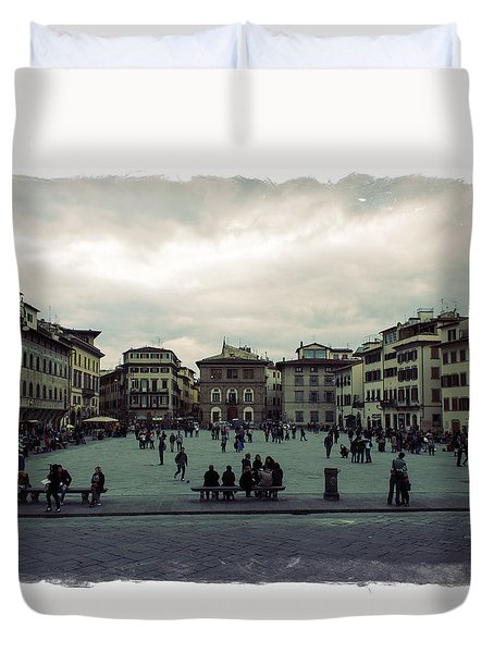 A Square In Florence Italy Duvet Cover