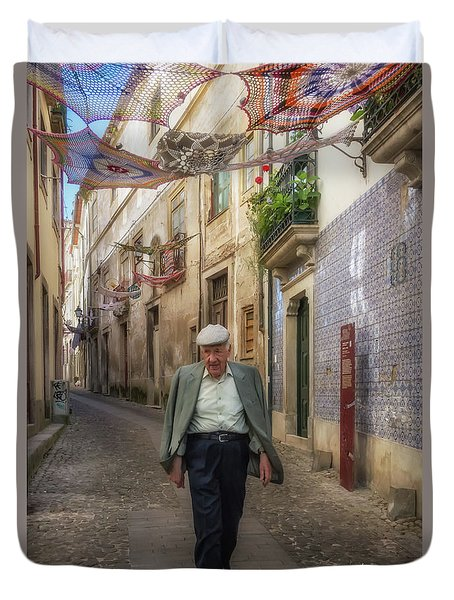 Duvet Cover featuring the photograph A Stoll In Coimbra by Patricia Schaefer