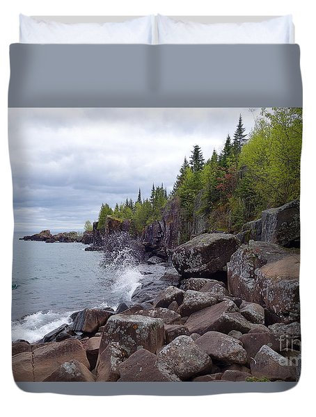 Duvet Cover featuring the photograph A Stormy Day In June by Sandra Updyke