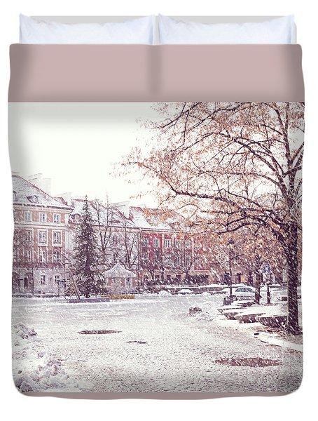 Duvet Cover featuring the photograph A Street In Warsaw, Poland On A Snowy Day by Juli Scalzi