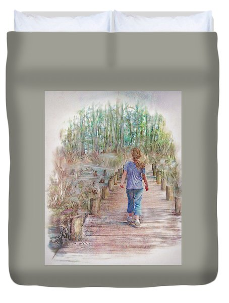 A Strole On The Boardwalk Duvet Cover by Bonnie Willis