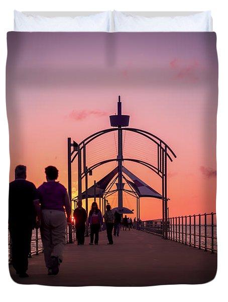 A Stroll Along Sunset Pier Duvet Cover