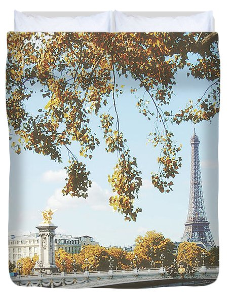 Duvet Cover featuring the photograph A Stroll Along The River Seine In Paris by Ivy Ho