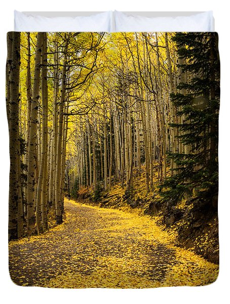 A Stroll Among The Golden Aspens  Duvet Cover